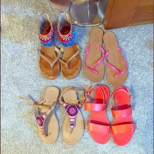 4 pair of colorful sandals!